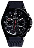Daniel Steiger Commander Black Multi-function Quartz Watch - Precision Movement With Day, Date & 24 Hour Dials - Durable Textured Silicone Strap - 100M Water Resistant