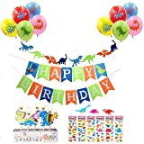 Dinosaur Birthday Party Decoration Kit: 1 Dinosaur Happy Birthday Banner, 1 Dinosaur garland, 5 Candles, 10 Balloons, 6 Dinosaur Stickers--Party Supplies Favors For Baby Shower Boys Girls First Birthday