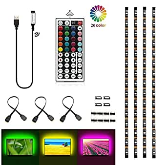 VIPMOON USB TV Backlight, Multi-Color 5050 RGB Flexible LED Strip Light with 44key Remote, Background Bias Lighting for HDTV PC Monitor Home Theater Decoration