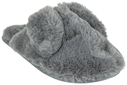 Ladies Flop Ear Bunny Novelty Plush Slipper,Grey,Large / 8-9 B(M) US