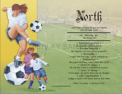 Football Prints Lithographs (Girls Soccer - Personalized ANY First Name Meaning Keepsake Print 8.5