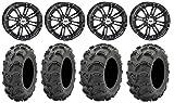 Bundle - 9 Items: STI HD3 14'' Wheels Black 27'' Mud Lite XL Tires [4x137 Bolt Pattern 10mmx1.25 Lug Kit]