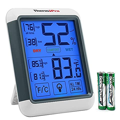 ThermoPro TP55 Digital Hygrometer Indoor Thermometer Humidity Gauge with Jumbo Touchscreen and Backlight Temperature Humidity - Control Measures