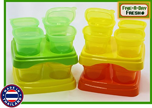 Five-A-Day Fresh Baby Food Freezer Cubes Reusable & Stackable Storage Containers with Trays, 2.3 ounce (70ml) Each Cube - 16 Individual Cubes, 4 Cubes Per Tray, 4 Trays Per Set by Five-A-Day Fresh
