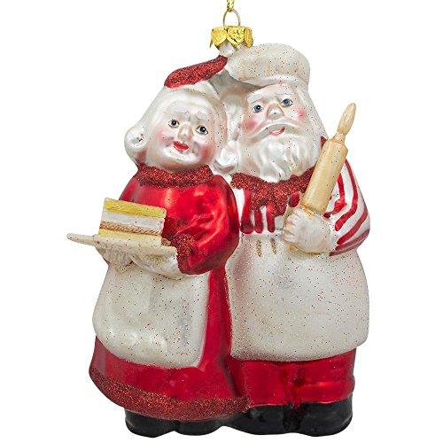 """5.25"""" Mr and Mrs Claus Baking a Cake Glass Christmas Ornament -  BestPysanky, CC-09"""