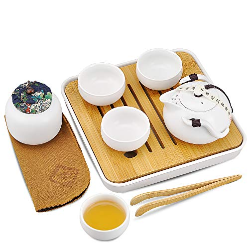 Gift Set Portable - Syiswei Portable Travel Kung Fu Tea set - 100% Handmade. Chinese/Japanese Style Traditional Ceramic Gifts, Porcelain Teapots and Porcelain teacups, Tea Can and Bamboo Tea Trays,Travel Bags (White)