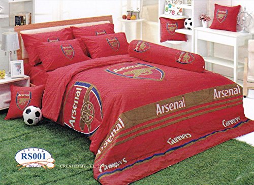 Arsenal F.C. Bedding In Bag Set (King Size, RS001); 1 Four Season Comforter with 4 pieces of Bed Fitted Sheet Set by TULIP