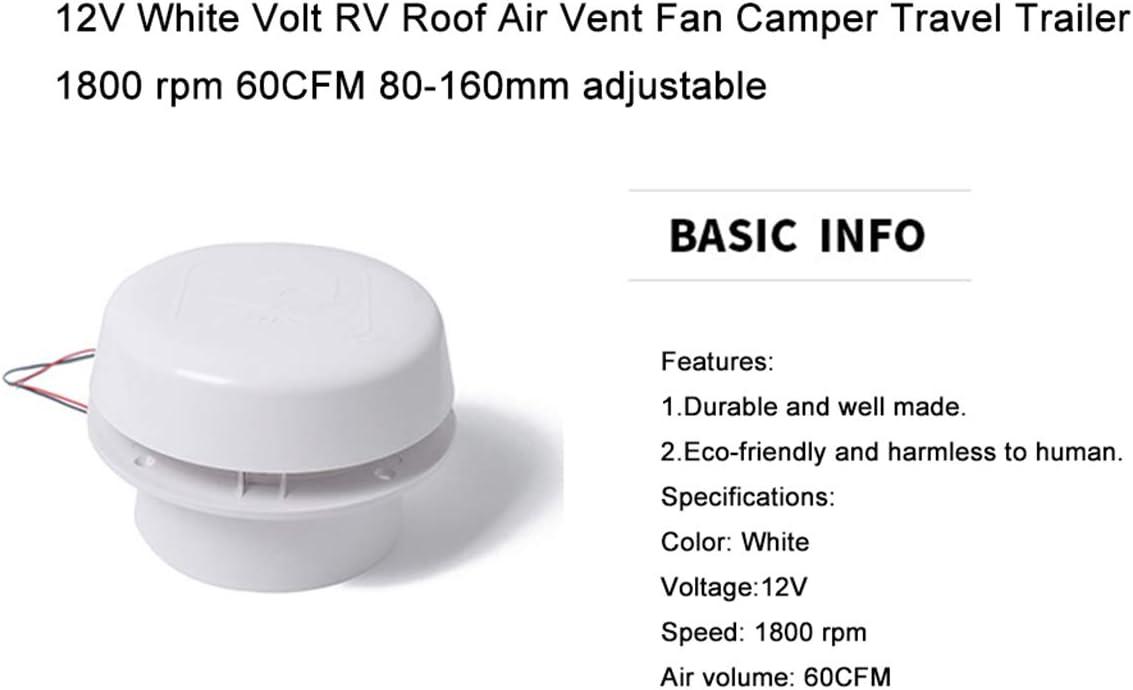 MHSZZAO 12V White Volt RV Roof Air Vent Fan Camper Travel Trailer 1800 RPM 60CFM 80-160mm Adjustable