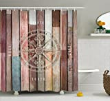 Marine Life Shower Curtain by Ambesonne, Navy Sea Life Yacht Theme Colored Wood Backdrop with Rudder like Compass Image, Fabric Bathroom Decor Set with Hooks, 75 Inches Long, Multicolor