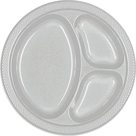 Reusable Party Round Divided Plates Tableware Silver Sparkle Plastic  10u0026quot; Pack  sc 1 st  Amazon.com & Amazon.com: Reusable Party Round Divided Plates Tableware Silver ...