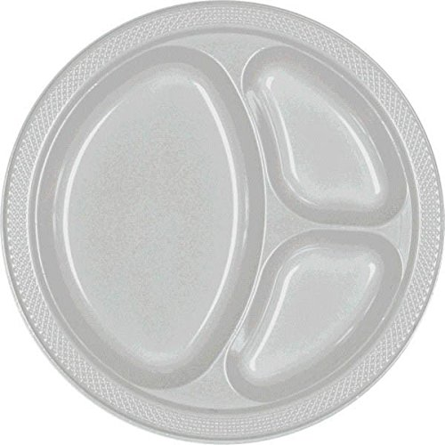 Reusable Party Round Divided Plates Tableware, Silver Sparkle, Plastic , 10
