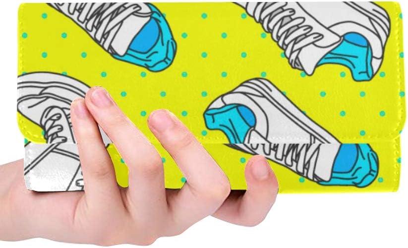 Monedero de Bloqueo RFID Monedero Calzado Deportivo Largo Estilo Casual Monedero Largo Cuero Tríptico Cartera de Mano Cartera de Mano Cartera de Tarjeta de crédito Estuche Bolso