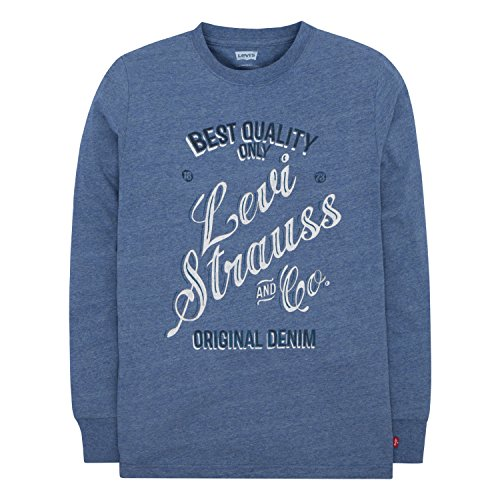 Levi's Big Boys' Long Sleeve Graphic T-Shirt, Delft Overdyed Grey Heather, (Levis Long Sleeve Tee)