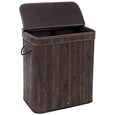 SONGMICS Divided Bamboo Laundry Basket Double Hamper with Lid Handles and Removable Liner Two-section Dirty Clothes Storage Sorter Rectangular Dark Brown ULCB64B - DOUBLE HAMPER: Sort out laundry into the 2 section hamper-darks and lights, which saves you the added sorting duty when laundry day comes ECO-FRIENDLY BAMBOO: Made of natural bamboo material, this double laundry basket is stylish and durable. Also it matches well with your house decoration by its dark brown color PRACTICAL & STURDY: Instead of dirty clothes piled on the floor, this strengthened sturdy hamper can hold all your laundry in the basket to keep your bedroom neat and clean - laundry-room, hampers-baskets, entryway-laundry-room - 51 uOVuIadL. SS400  -