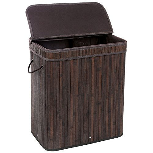 SONGMICS Divided Bamboo Laundry Basket Double Hamper with Lid Handles and Removable Liner Two-section Dirty Clothes Storage Sorter Rectangular Dark Brown (Bathroom Clothes Hampers)