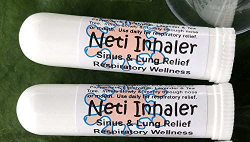 NETI INHALERS! SET of TWO (2) Sinus & Lung Relief. HIMALAYAN SALT AIR & Botanicals! Respiratory Wellness. Healing Ions, Aromatherapy. Energizing scent! Colds, Asthma, Cough, Bronchitis. 100% (Asthma Treatment)