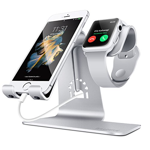 Aluminum Watch Stand Charging Dock for iWatch iPhone(Silver) - 2