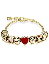 Cute Emojis Charm Bracelet Adjustable Chain Emoticon Slide Bracelets for Girls