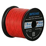 BNTECHGO 12 Gauge Silicone Wire Spool Red 50 Feet Ultra Flexible High Temp 200 deg C 600V 12AWG Silicone Rubber Wire 680 Strands of Tinned Copper Wire Stranded Wire for Model Battery Low Impedance