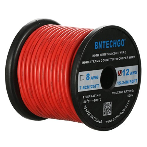 BNTECHGO 12 Gauge Silicone Wire Spool Red 50 feet Ultra Flexible High Temp 200 deg C 600V 12 AWG Silicone Rubber Wire 680 Strands of Tinned Copper Wire Stranded Wire for Model Battery Low Impedance
