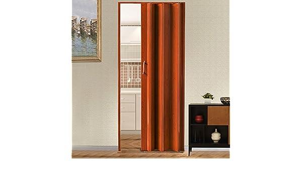 Puertas plegables de PVC de 12 mm, puerta plegable de acordeón de Concertina para armario de cocina o baño, marrón: Amazon.es: Bricolaje y herramientas
