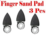 Pack of 3 2'' x 1.5'' Finger Detail Sanding Pad w/ Velcro Oscillating Multi Tool Saw Blades sand for Fein Multimaster Bosch Multi-x Craftsman Nextec Dremel Multi-max Ridgid Dremel Chicago