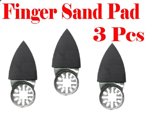 Pack of 3 2'' x 1.5'' Finger Detail Sanding Pad w/ Velcro Oscillating Multi Tool Saw Blades sand for Fein Multimaster Bosch Multi-x Craftsman Nextec Dremel Multi-max Ridgid Dremel Chicago by Bobcat Blade (Image #1)