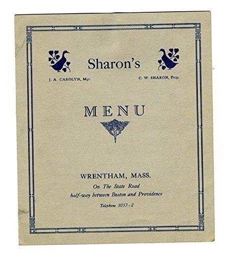 Sharon's Duck Farm Restaurant Menu Wrentham Massachusetts 1930's Roast ()