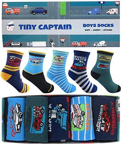 Tiny Captain Boys Socks 4-7 Yr Old Transportation Cars Set (Medium, Blue, Teal, Black) -