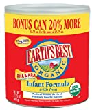 Earths Best Organic Infant Formula with Iron, DHA & ARA (20% Bonus Size), 31.75-Ounce Cans (Pack of 4)