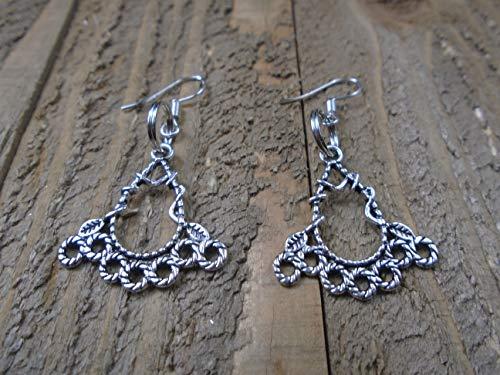 BEACH HEMP JEWELRY Fancy Swirl Earrings Silver Charm Dangles Handmade In USA