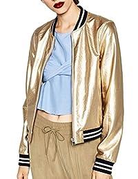 ACHICGIRL Women's Color Block Striped Metallic Bomber Jacket