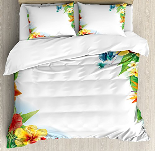 Hummingbirds Decor Duvet Cover Set Queen Size by Ambesonne, Tropical Flowers and Leaves Natural Foliage Vibrant Color Exotic Rainforest, Decorative 3 Piece Bedding Set with 2 Pillow Shams