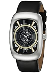 EOS New York Men's 110SBLK Speaker Black Leather Strap Watch
