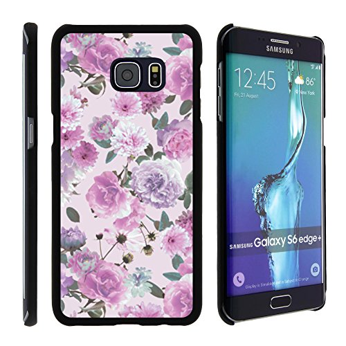 Samsung Galaxy S6 Edge Plus Phone Case, Perfect Fit Cell Phone Case Hard Cover with Cute Design Patterns for Samsung Galaxy S6 Edge+ SM-G928 by MINITURTLE - Pink Purple (Pink Purple Flower)