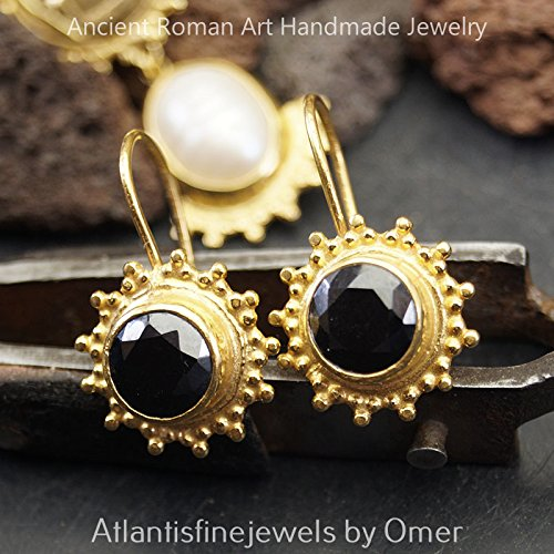 Handcrafted 925 Sterling Silver Fine Granulated Onyx Earrings Sun Collection 24k Gold Plated Ancient Roman Jewelry (Handcrafted Fine Jewelry Collections)