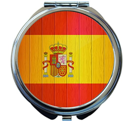 Rikki Knight Spain Flag on Distressed Wood Design Round Compact Mirror by Rikki Knight