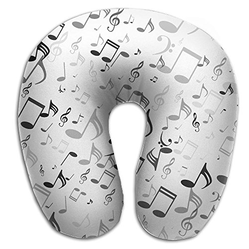 Treble Clef Paint - BRECKSUCH Treble Clef Musical Notes Print U Type Pillow Memory Foam Neck Pillow For Travel And Relief Neck Pain Fashion Super Soft Cervical Pillows With Resilient Material Relex Pollow