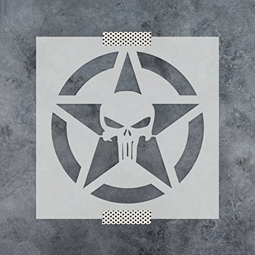 Punisher Skull Star Stencil Template for Walls and Crafts - Reusable Stencils for Painting in Small & Large Sizes -