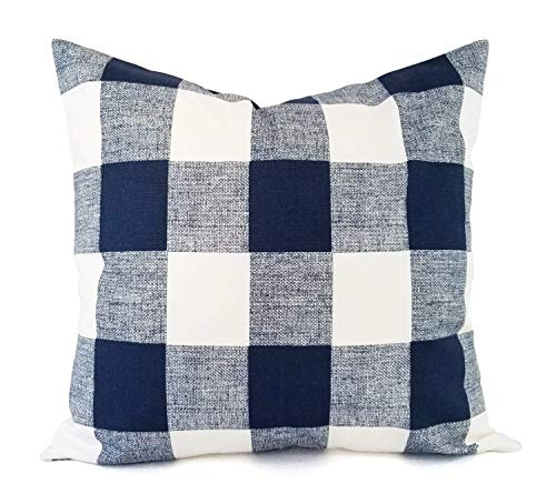 Navy Plaid Pillow Cover - Blue Buffalo Check Pillow Cover - Modern Pillow Cover - Custom Pillow Sham - Decorative Pillow Case - 16 x 16 Inch 18 x 18 Inch 20 x 20 Inch Throw Pillow