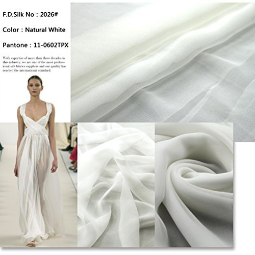 F.d.silk Natural White 100% Pure Silk Chiffon Fabric By the Yard, 48 Colors, Natural White Ch-026 (Silk Chiffon Fabric)