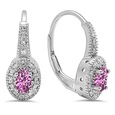 10K White Gold Ladies Halo Style Millgrain Hoop Earrings from Dazzlingrock