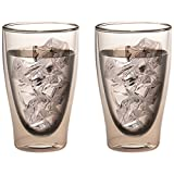 Levivo Set 2002000155 Double Walled Thermo Glass, Set of 2 Glasses 400 ml Book Sommerdrinks Long, Glass, Grey, 22.5 x 15.5 x 10.5 cm 2 Units