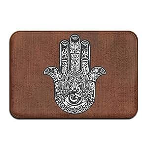 Espiritual Hamsa Mano cuadrada antideslizante Felpudo de interior puerta de impresión de logotipo de alto tráfico alfombrillas