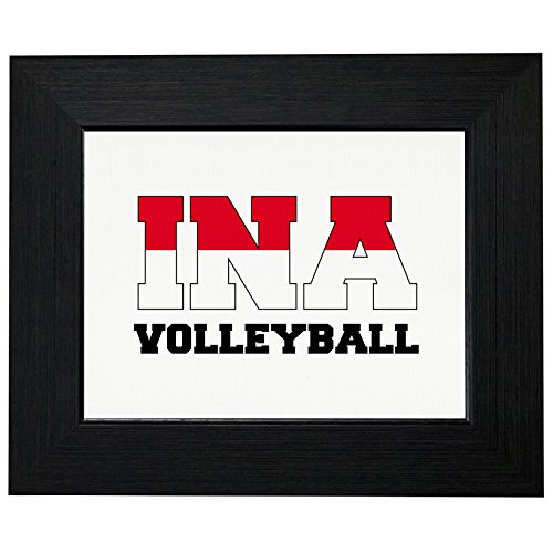 Indonesia Volleyball - Olympic Games - Rio - Flag Framed Print Poster Wall or Desk Mount - 9930 Desktop