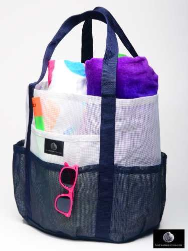 Amazon.com: Mesh Family Beach Tote - White and Navy Whale Bag w ...