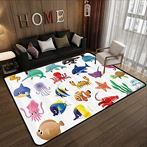 Outdoor Carpet,Whale Decor Collection,Marine Organisms Stingray Squid Star and Sea Horse Sailfish Lobster Fun Artwork,Blue Red Ivory 71
