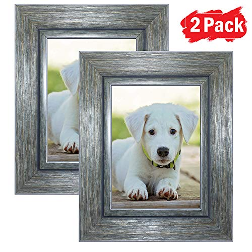 DY Frame 6x8 Picture Frame Vintage Green-Gray Rustic Home or Office Decor | Vertical or Horizontal Tabletop Stand or Wall Mounting | Baby, Pet, or Family Photos, Diploma (Tv Retro Picture Frame)
