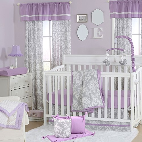 Grey Damask and Purple 5 Piece Baby Crib Bedding with Bumper by The Peanut ()