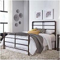 Fashion Bed Group Everett Brushed Copper Queen Bed with Metal Pipe Frame Design